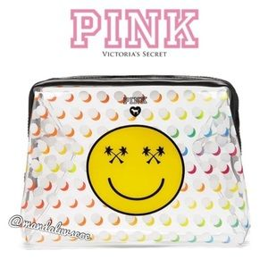 🙂💕VS PINK SMILEY FACE COSMETIC BAG BEAUTY TRAVEL